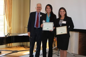 "Kelly Alexandre, Cynthia Sha, Kelsey Baire(not pictured), and Jessica Johnson(not pictured) won the ""best undergraduate paper for 2013″ at the NJCA annual meeting."
