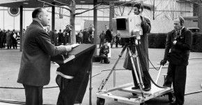 David Sarnoff presents the first televised news broadcast at the 1939 New York World's Fair.
