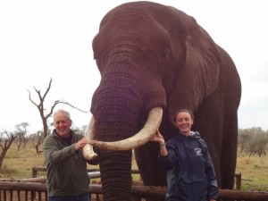John Pollock and Kelsey Zinck at Hluhluwe with Rambo whose herd was killed 0813