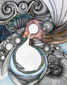 Bonnie Berkowitz '78, Neuro-Media #5, 2014, colored pencil on Bristol paper