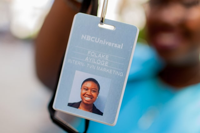 ID card of a TCNJ student with an internship at NBCUniversal