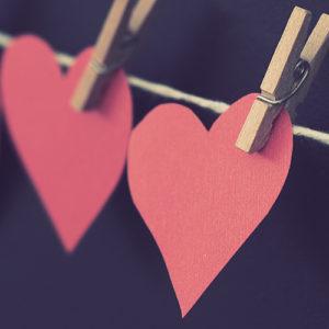 Photo of paper heart cutouts