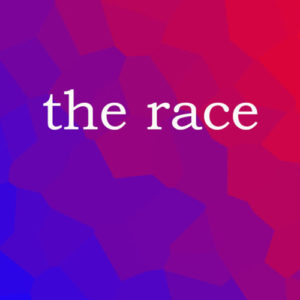 blue and red 'the race' title graphic